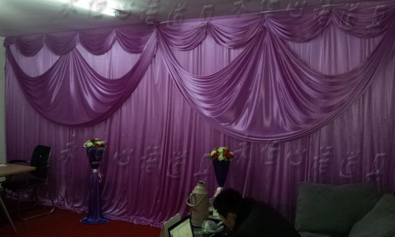 hotsale two layer wedding backdrop curtain with swag backdrop wedding