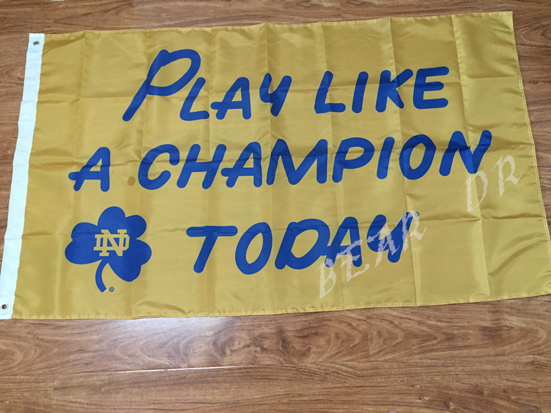 The University of Notre Dame PLAY LIKE A CHAMPION TODAY NCAA Flag hot sell goods 3X5FT 150X90CM Banner brass metal holes(China (Mainland))