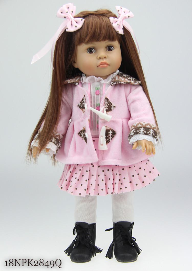 NPK 18 inch American Girl Dolls baby reborn Hobbies Baby Alive Doll For Girls Toys boneca reborn