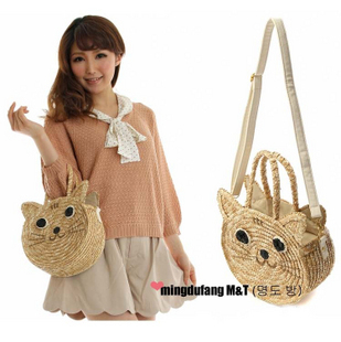 Cat straw bags magazine featured shoulder straw Beach bags woven cane bag cane cat(China (Mainland))