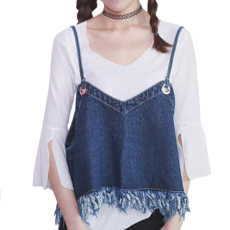 Summer Style Hot Sale New Fashion Washed Denim Camis 2016 Jeans Tassel Loose Crop Tops Sling All-match Sexy Top Shirts Femme(China (Mainland))