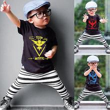 Pokemon Go Toddler Baby  Boy Girl Fashion Cartoons Summer Top Black Short Sleeve Tee T-shirt 2-7Y