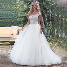2016 New Arrivals Tulle Scoop Neck Cap Sleeves Appliques Beaded Crystals Bridal Wedding Dresses Online Ball Gown Wedding Dresses(China (Mainland))