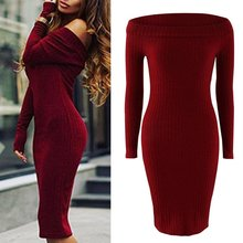 Buy WJ Brand Winter Long Sleeve Off-shoulder Sexy Club Dress Autumn Women Slim Bodycon Knitted Sweater Party Night Dresses Vestidos for $7.22 in AliExpress store