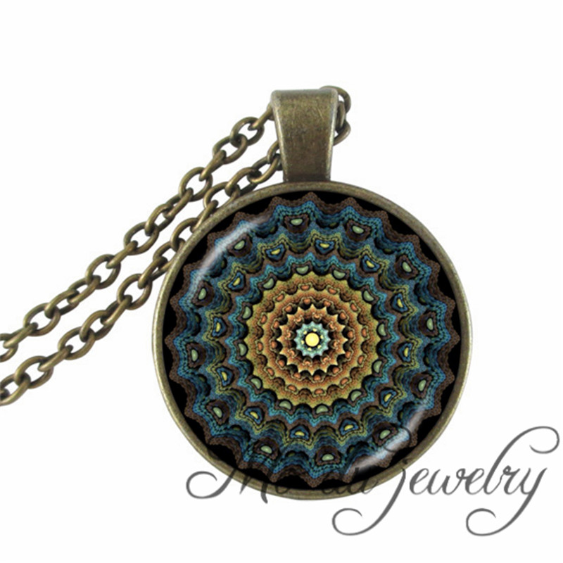 2016 Sacred Flowers Necklaces Vintage Round Mandala Flowers Silver Plated Colorful Glass Dome Pendants Spiritual Healing Jewelry(China (Mainland))