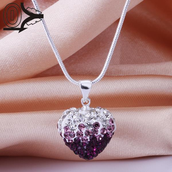 New Style!!Handmade Disco Ball Beads Cute Gift,Crystal Shamballa Necklace,Classic Gradient Heart-shaped Czech Diamond Necklaces(China (Mainland))