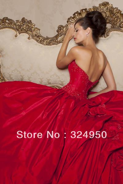 Gown sweetheart chapel train taffeta red christmas wedding dresses