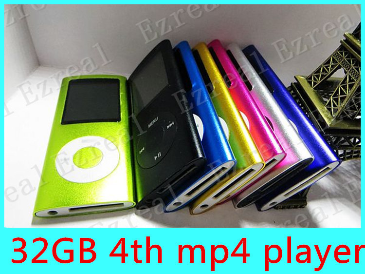 4TH MP3 MP4 Players FM Radio/Ebook Reader 32GB 9 colors for choose with earphone retail box usb cableFree shipping 50PCS/LOT(China (Mainland))