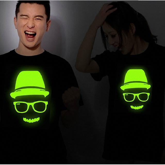 Luminous t-shirt headcounts male personality lovers short-sleeve T-shirt photogen plus size available