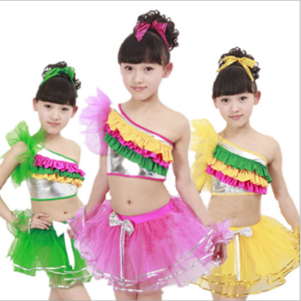 Children modern dance clothes girls sequined veil latin skirt rainbow Latin costumes great training school - Performance Clothing store