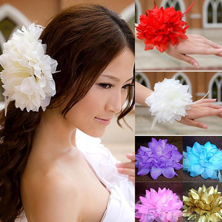 Hot Sale Fashion Bridal Flower Wrist Flower Party Dance Performance Silk Flower Headdress Hair Decoration 10 Colors HDR-021801(China (Mainland))