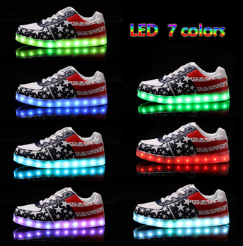 New Light Up Sneakers For Adults Men Women Chaussure Basket Femme Pattern Shoes Air For Sale 8 Colour Red For Octobe(China (Mainland))