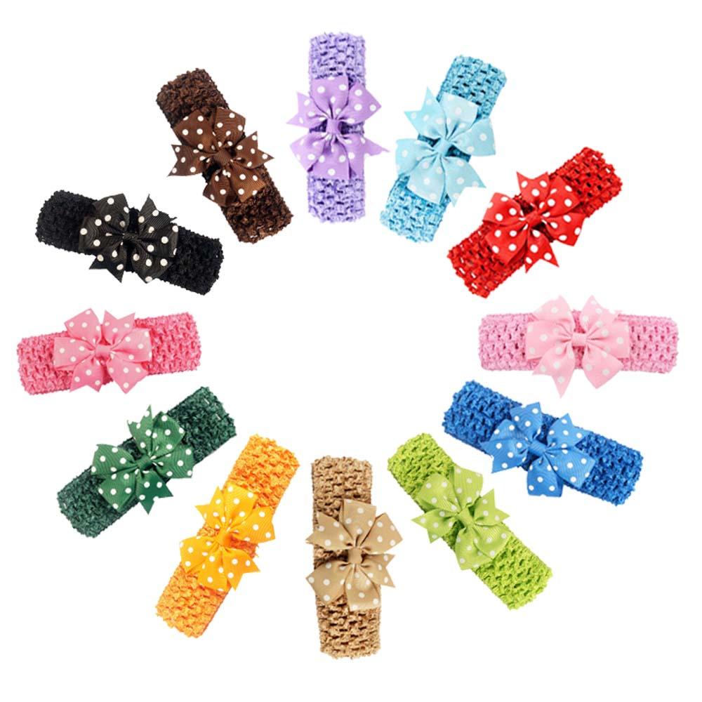 Fashion Handmade Polka ribbon flower headband Soft Elastic Head band Gifts For Hair Newborn knit Bands(China (Mainland))
