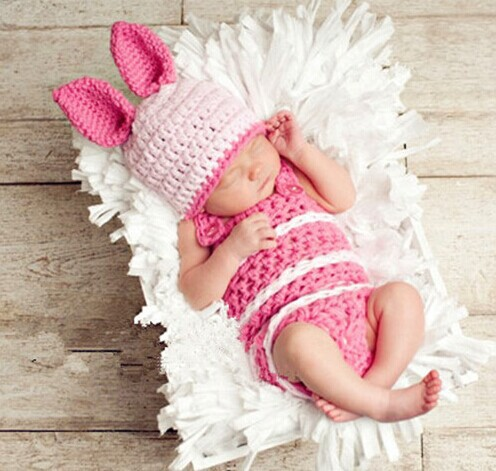 Baby Crocheted Bunny Beanie Hat Baby Newborn Photography Props Costume Outfit Knitted Rabbit Cap With Shorts SY55(China (Mainland))