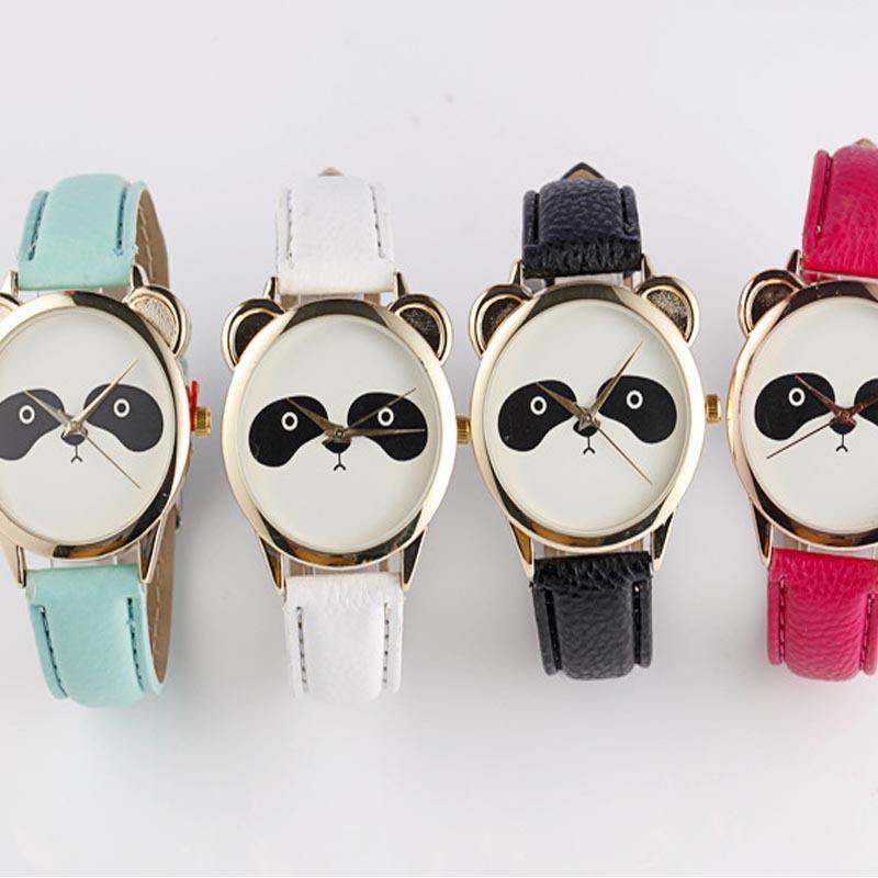 2015 Hot Sale New Arrival Fashion Neutral Diamond Lovely Panda Face Faux Leather Along Quartz Watch(China (Mainland))