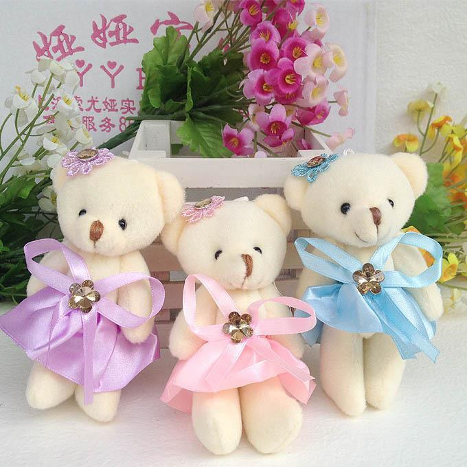 Promotion Wholesale 10pcs/lot 12cm soft mini plush toy bear doll girls cute toys bouquets material bear PP Cotton Bear(China (Mainland))
