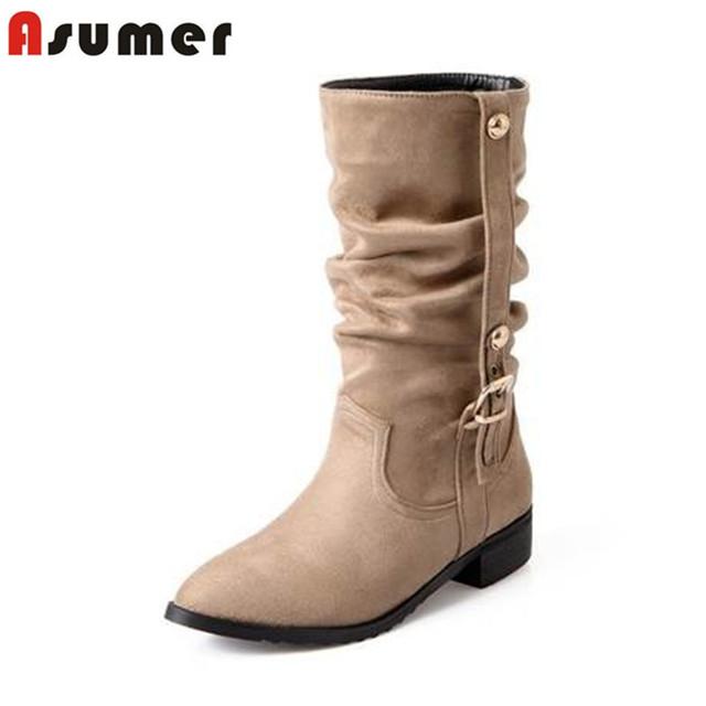 Большой размер 34-49 новых прибыть моды женские плоские каблуки лодыжки сапоги острым ...