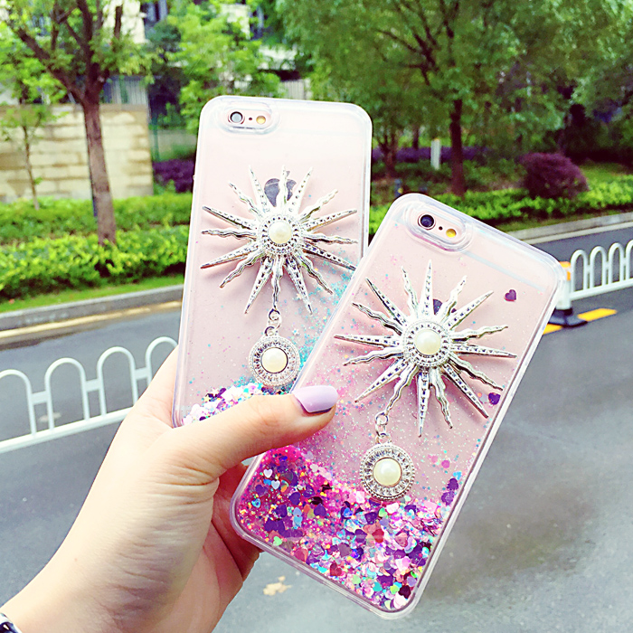 Luxury Fashion brand New 6s quicksand cover For apple iphone 5 5S 6 6S plus diy diamond case Rhinestone TPU Soft Edge back cover(China (Mainland))