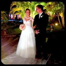 Vestido de noiva White Long sleeve Wedding dress Lace Beading See Through Wedding gown Plus size Vbiti da sposa(China (Mainland))