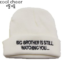 Cool Cheer Hot Kint Hats Style Embroidery Letters Watching You Autumn Winter Knitting Hat Sets Warm Hat Man Cold Cap Neutral(China (Mainland))