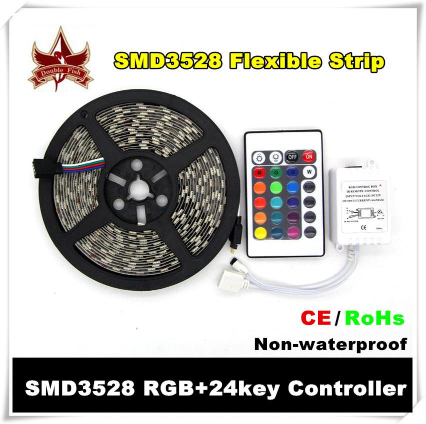 RGB LED Strip 5M 300Led 3528 SMD + 24Key IR Remote Controller Flexible Led Light 12V Ribbon Home Decoration Lamps Free Shipping(China (Mainland))
