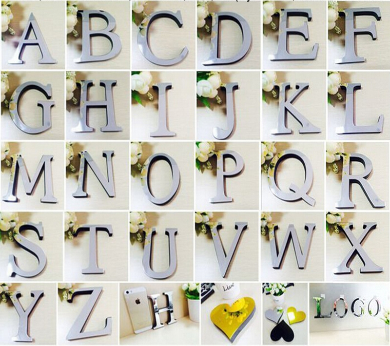 2015 new acrylic EVA wedding sticker love letters Home decoration English 3D mirror wall Stickers Alphabet LOGO Free shipping(China (Mainland))