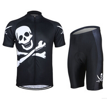 RSUXEO Men's Breathable Cycling Short Sleeves Jersey with Tights Shorts 3D Coolmax Gel Silicone Paded Road Bike Bicycle Wear Set