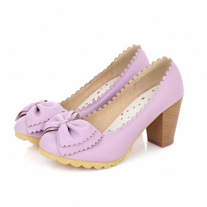 ENMAYER comfortable round toe square thick heel women pumps sweet bowtie platform pumps PU slip on women shoes size 34-43