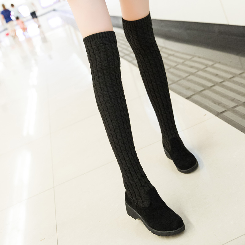 Гаджет  New Hot Autumn Winter Warm high heels pumps high snow boots artificial nubuck leather casual female over the knee Knitting shoes None Обувь