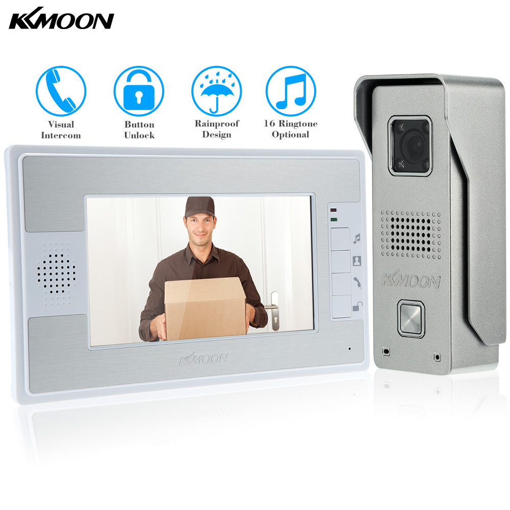 KKmoon 7'' Color TFT LCD Video Door Phone Video Intercom Doorbell Unlock Monitor Rainproof IR CCTV Camera Home Security(China (Mainland))