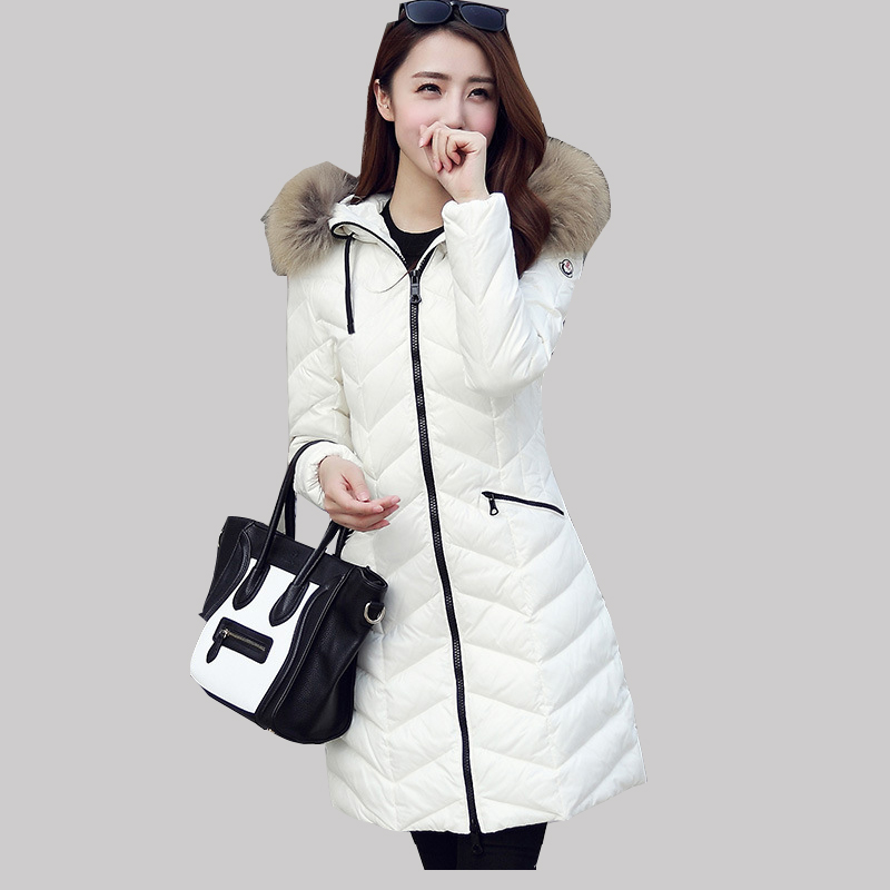 2016 Fashion Female Winter Long Coat Nagymaros Collar Hooded Duck Down Jacket Women Thick Jackets Casual Slim Warm Parkas JA186