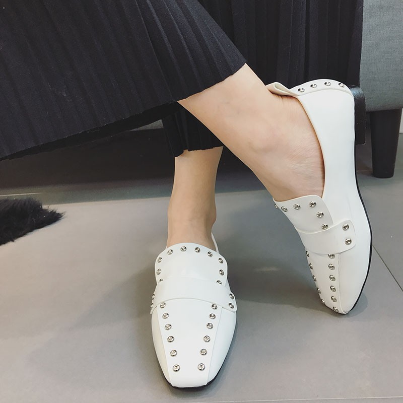 CBJSHO High Quality Women British Style Casual Shoes Rivets Flat Square Toe Spring Autumn Loafers Shoes For Woman Size 35-39