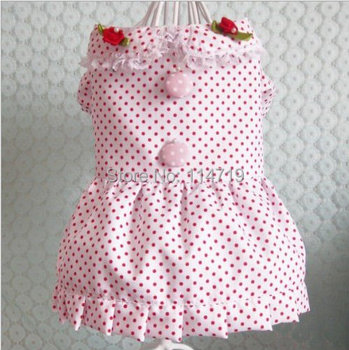 1pcs/lot wholesale 2014 New Hot Sale Fashion Pet Clothes Dog puppy Teddy Red Cotton Dress with Rose XS S M L XL FREE SHIPPING