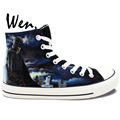 High Top Black and White Superman Batman Painted Canvas Shoes Man Woman Hand Painted Art Wen