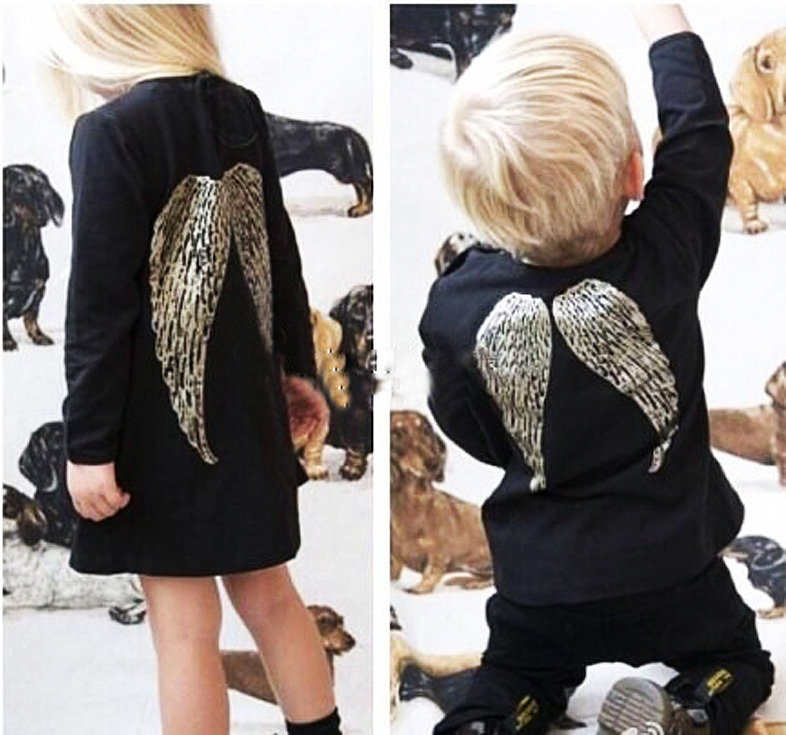2015 Autumn New Girl Dress Long Sleeve Black Angel Wings Loose Baby Girls Dresses Cotton Fancy Girl Princess Party Dress(China (Mainland))