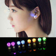 1 pair hot sale New Dazzling Earring Ear Stud Cool Colorful LED Luminous for DJ Dance Party Bar(China (Mainland))