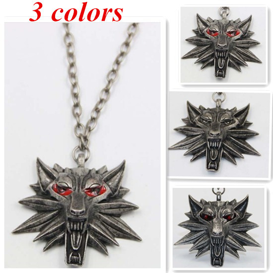 Vintage Bronze Wolf Head Necklace The Witcher Pendant Wizard Witcher 3 Medallion Pendant Necklace The Wild Hunt 3 Figure Game(China (Mainland))