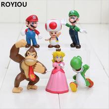Buy 6pcs pack Super Mario figures3-6cm Bros Peach Toad Mario Luigi Yoshi Donkey Kong PVC Action Figure Toys XW036 for $9.59 in AliExpress store
