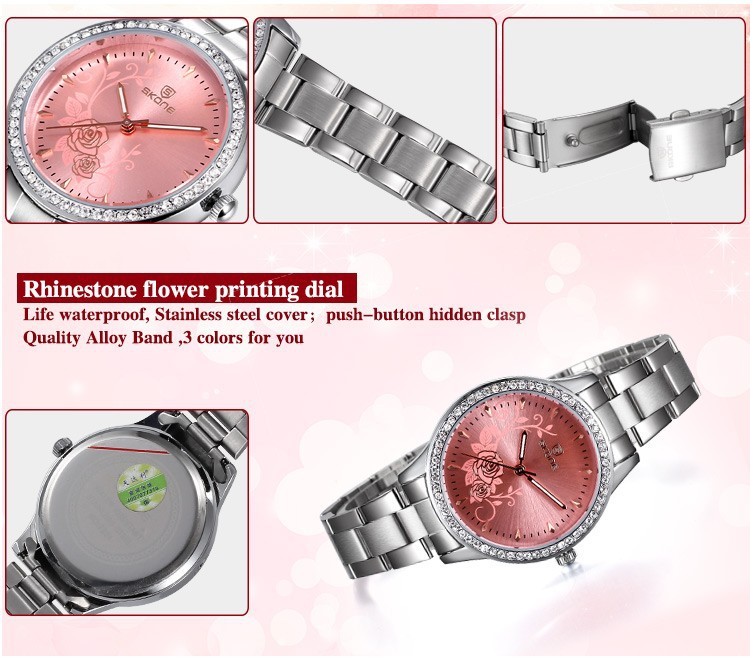 SKONE Relogio Feminino Fashion Women Watches Top Luxury Brand Carved Flower Quartz Watch Ladies Casual Watches Woman Watch XFCS