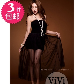 Free Shipping 2013 spring new arrival queen dream ballet dancing in the black swan knitted long tulle dress