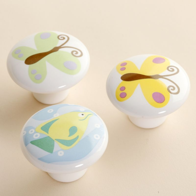 38mm butterfly fish painted Ceramic Knobs Kids Bedroom Kitchen Door Cabinet Cupboard Knob Pull Drawers Handle(China (Mainland))