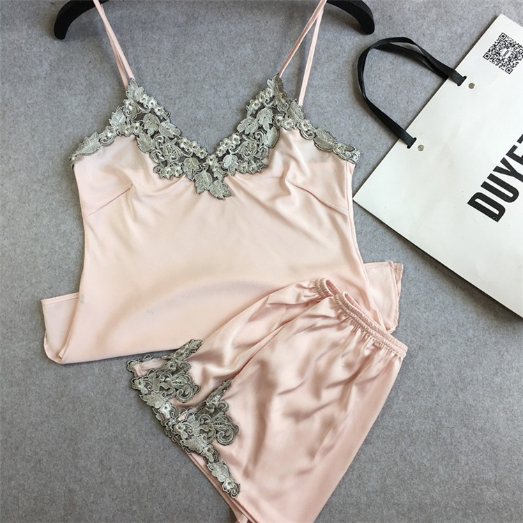 2016 summer style pajamas sets Women Female Sleep Lace  Women's Deep V-neck Sexy Spaghetti Strap Shorts Sleepwear silk homewear