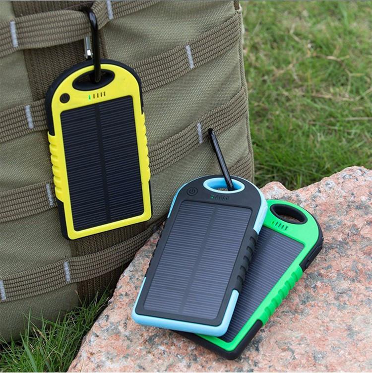 Горячая водонепроницаемый солнечное зарядное устройство 5000 мАч портативное зарядное устройство Enternal Powerbank для Xiaomi Iphone 5S 6 4S HTC Sumsang