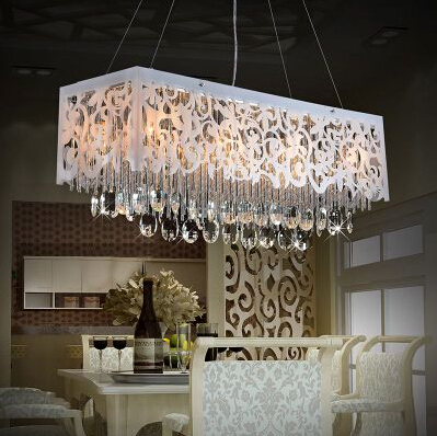 Modern led creative carved rectangular crystal chandelier for Modern crystal chandelier for dining room