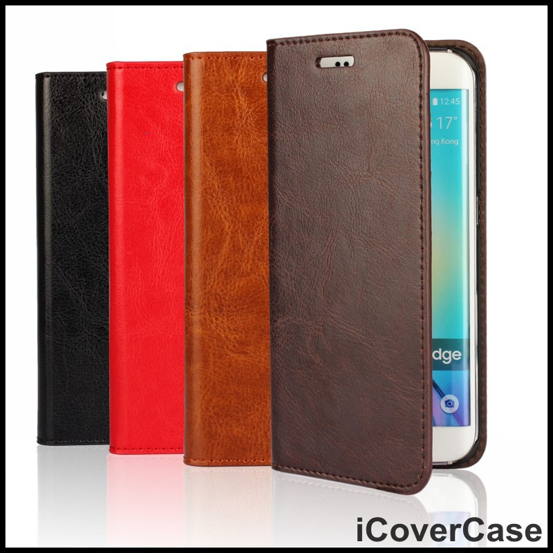 For Samsung Galaxy S6 Edge Wallet Case Stand Crazy House Leather Phone Bag Mobile Cover For Samsung Galaxy S6 Edge(China (Mainland))