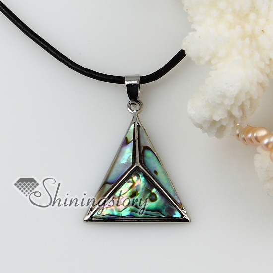 triangle rainbow abalone yellow white pink seashell mother of pearl oyster sea shell necklaces pendants 2013 handmade jewelry(China (Mainland))