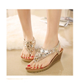 Beach shoes high heel slope with sandals female summer 2017 new Bohemian diamond beaded thick bottom