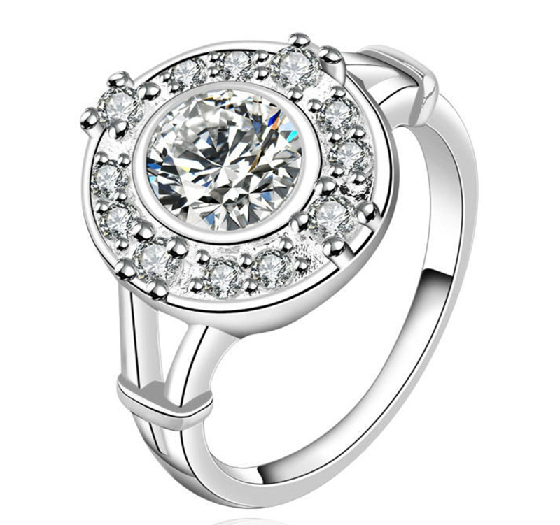 Brand Big Round Cut Princess Ring Silver Plated Clear AAA Cubic Zircon Ring Western Style Emerald Cut CZ Zircon Engagement Rings(China (Mainland))