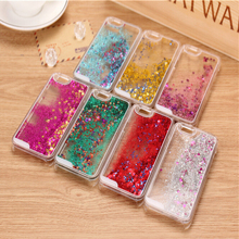 Glitter Stars Dynamic Liquid Quicksand Hard Case Cover For iPhone 4 4s  5 5s 6 back cover Transparent Clear Phone Case (China (Mainland))