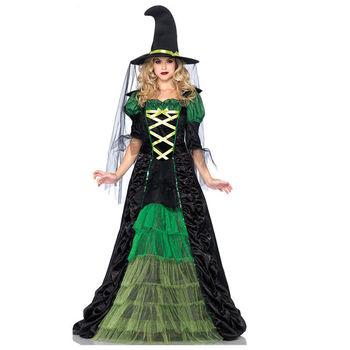 Взрослый зеленый костюм ведьмы женская хэллоуин необычные платья фантазия feminina adulto косплей экипировка
